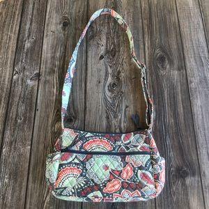 Vera Bradley Gray Floral Pattern Over Shoulder Bag